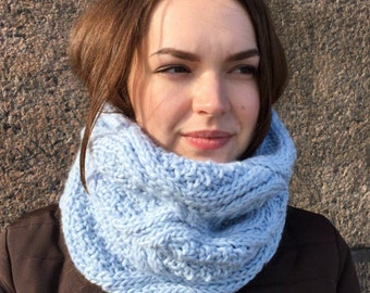 Knit Chunky Cowl, Knit Scarf, Tube Cowl, Blue Cowl