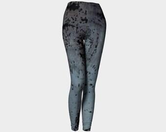 Black and slate blue leggings for women, splatters, steampunk, punk, grunge, goth yoga pants by Felicianation Ink