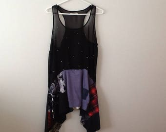 Sheer Black Tunic Upcycled Clothing Refashioned Top Romantic Goth Modern Punk Grunge Urban Chic Summer Top. Women's Size Medium to Large.
