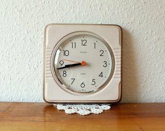 Vintage ceramic wall clock, kitchen clock, Kienzle, quartz, made in Germany, beige brown