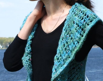 Under The Sea, a women's one piece knitted circular vest PDF pattern