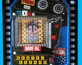 Recycled Mixed Media Assemblage Game Art, Free Your Mind, Mental Escape, Mixed Media