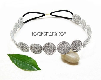 Metallic Silver Small Doily Lace Elastic Headband, Bridal Headband , Bridesmaid Headband