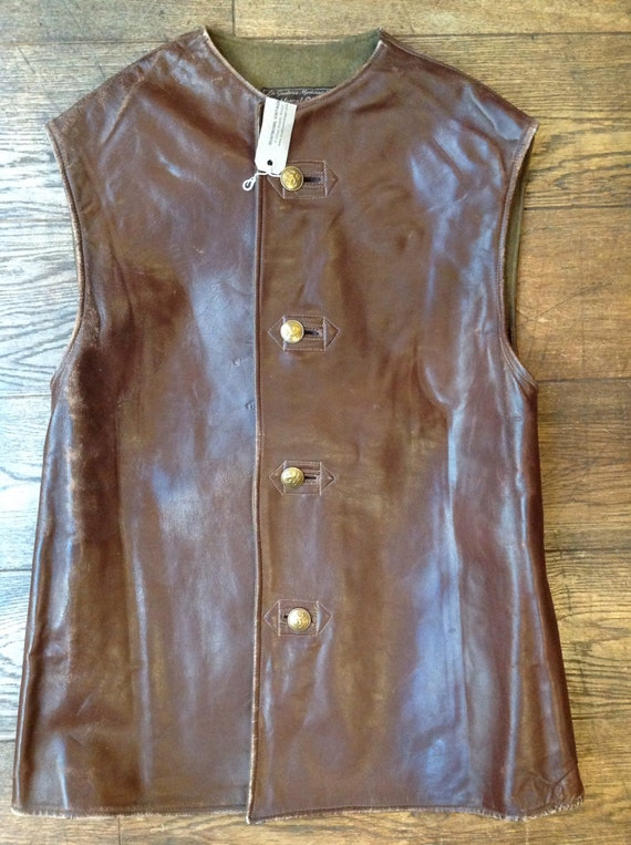Vintage 1940s 40s Belgian brown leather jerkin waistcoat vest wool lined battledress
