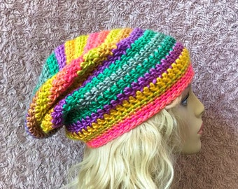 Multi-colored Slouchy Crochet Hat