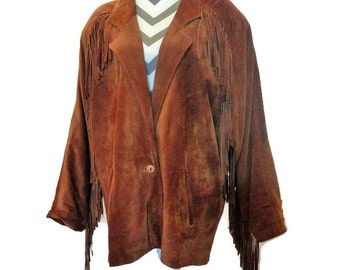 Vintage Genuine Suede Leather Fringe Jacket Coat, Phenomenal! - Ladies Size Large