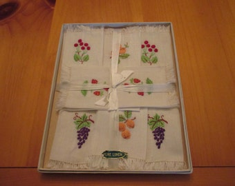 Set of Eight Small Fingertip Antique or Vintage Linen Napkins, Hand Embroidered Fruit with Fringe NIB NOS Unused Never Used