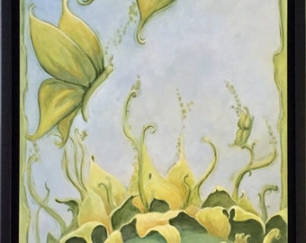 10 x 20 peinture acrylique originale laissant le NID éthérée fantaisie surréaliste tournesol par FFAW RSalcedo livraison gratuite