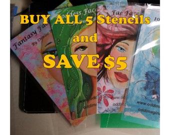Stencils Art Face   Buy ALL 5 Stencils  and SAVE 5   Original  Art Journals   Mixed Media Art   Resuable   Oddimagination   Denise Baldwin