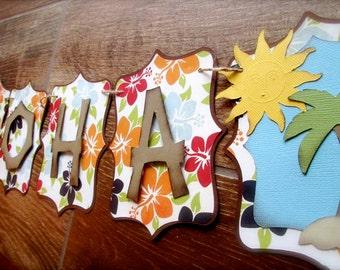 Aloha Luau Banner Party banner Hawaiian inspired embellished with palm tree, sunshine, hibiscus