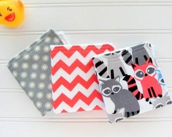 Raccoon Baby Boy Washcloth Set, Set of 3 Baby Wipes, Diaper Bag Accessory, Soft Baby Wipes, Diaper Bag Wipes, Bath Gift Set