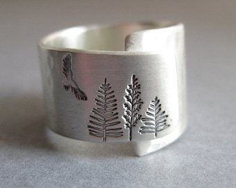 Sterling silver - tree - hawk - bird - nature inspired - hiker - adjustable - ring for her - ring for him - evergreen tree - woodland