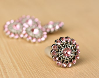 Light Pink  Rhinestone Button - 5 - Acyrlic Rhinestone Buttons - Chloe Button - 26mm - Plastic Buttons - Acrylic Buttons