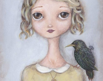 "Bird Artwork - ""Isabel and the Starlings"" - Girl with birds giclee print of painting, kids room wall art"