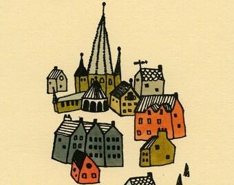 kleines Dorf Gocco Siebdruck