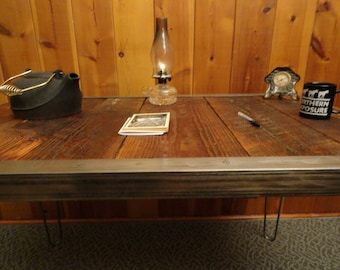 Authentic Custom built Industrial desk with raw steel trim and hairpin legs