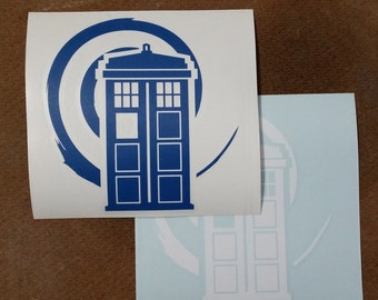 Police Box Vinyl Decal for Car Windows and Laptops Tardis in Vortex