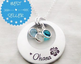 OHANA means family family means no one gets left behind or forgotten hand stamped washer necklace with swarovski birthstone crystals