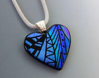 Blue and Purple Glass Heart, Valentine Jewelry, Dichroic Fused Glass Hand Etched Pendant, Fused Glass Pendant, Zentangle Heart Necklace