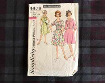 1960s Simplicity 4478 bust 33 dress with button front
