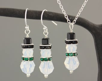 White Opal Crystal Snowmen Necklace & Earring Set -  green scarf, black hat, Swarovski Crystals - Winter and Christmas - Free shipping USA