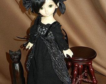 "Black Renaissance Gown Outfit for Yo-SD / LittleFee / 10"" BJD"