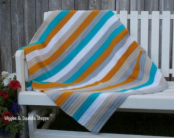 Crochet baby blanket-Crochet Blanket-Baby Blanket-Striped Baby Blanket-Throw Blanket-baby blanket-gift-by The Wiggles and Squeaks Shoppe