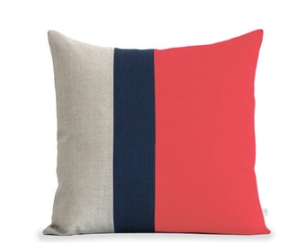 Color Block Pillow (20x20) Coral, Navy and Natural Linen by JillianReneDecor Modern Home Decor Colorblock Striped Trio