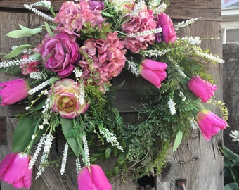 Pink Tulip and Hydrangea Spring Wreath