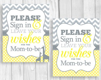 SALE Please Sign in, Leave Your Wishes 8x10 Printable Mom-to-Be Baby Shower Guest Book Sign in Yellow and Gray - Giraffes Optional - Unisex