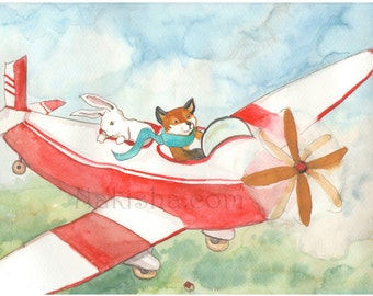 Flying Fox - Fine Art Print - Rabbit, Red Fox and Airplane
