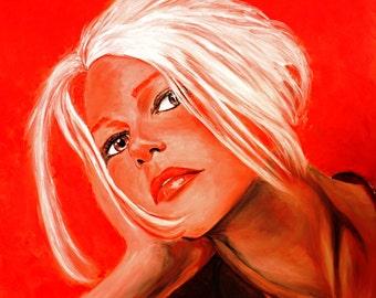 Print - girl portrait, woman portrait, woman art, woman print, red art wall, art wall, home decor art, fine art print, gliclee, romantic art