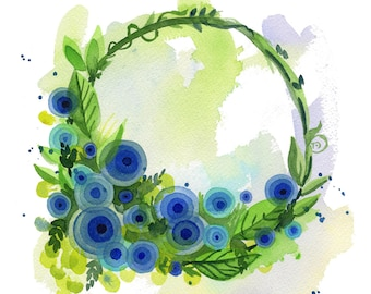 Blue Flower Wreath Print high quality giclee art floral heart Lauren Ingraham