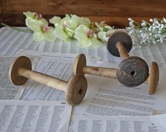 Set of three Old wooden spools Large wooden bobbins Thread spools Reels Rustic decor
