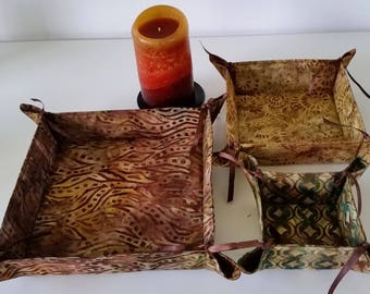 Batik Print Collapsible, Reversible, Baskets, Set of three, Abstract Design, Home Decor, Home Textile