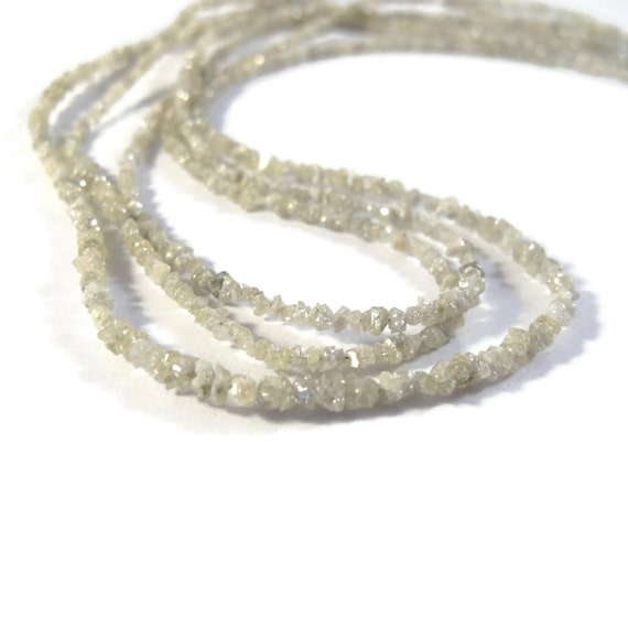 Rough Diamond Beads, Tiny Lightest Gray Nuggets, Natural Raw Diamond Beads, Conflict Free, 8 inch Strand, Gray Diamonds (Luxe-Di6)