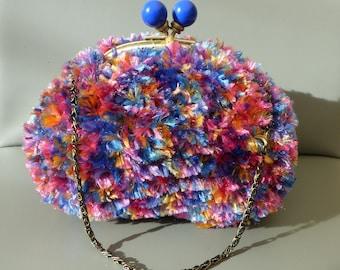 multicolored fur bag / / kawaii bag / / evening bag / / multicolor bag / / metal clasp bag / / knitting bag / / handmade bag