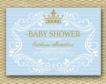 Printable Royal Baby Shower Invitation Blue Gold Little Princess Royal Baby Boy Shower Sip and See ANY COLOR, Any Event