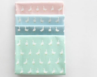 Lovely Goose Pattern 30s Cotton Fabric - 4 Colors Selection