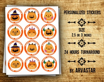 """Personalized Pumpkin Stickers, Halloween Stickers,Halloween cupcake toppers ,Favor Tags,Circle Stickers, 2.5""""-or -3"""""""