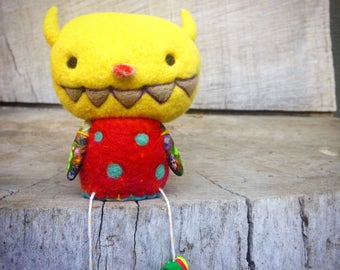 OOAK Needle felted Yellow Monster Toy Shelf Sitter Ready to Ship