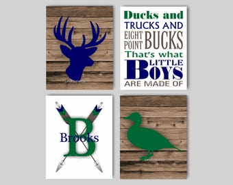 Woodland Nursery, Deer Head, Duck Wall Art, Woodland Print, Arrow, Baby Boy Nursery Art, Rustic Nursery Art, Customize Your Colors WD4432