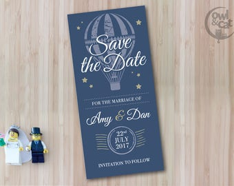50 Save The Date / Wedding cards - Vintage Whimsical Hot Air Balloon Design with Stars - navy blue