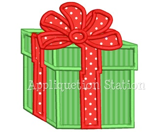Christmas Gift Box Bow Applique Machine Embroidery Design Birthday Package Present INSTANT DOWNLOAD