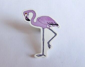 Lilac Flamingo Pin - Hand Drawn Plastic Brooch