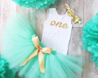 Mint and Gold Birthday Dress Tutu Outfit for Baby Girls 1st Birthday Outfit Toddler Girls 1st Birthday Dress Cake Smash Tutus