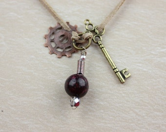 Steampunk Charm and Bead Necklace