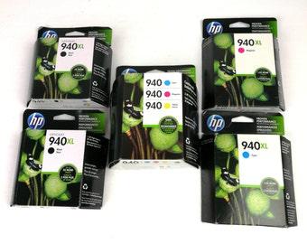 HP Ink 940 XL Lot 5 Boxs Black Tricolor Sealed Black Cyan Magenta Yellow