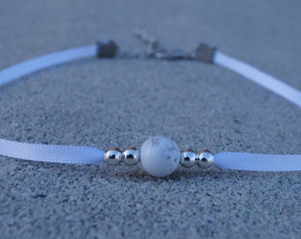 Marble & Silver Bead Choker With White Band
