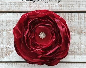Red Hair Flower, Satin Hair Flower Clip, Red Hair Clip, Red Layered Hair Clip, Burnt Edge Flower, Valentine's Days, Hair Accessories, Flower